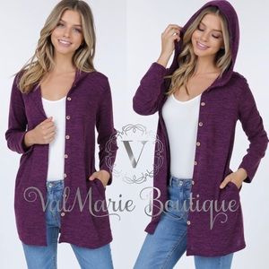 Button down womens hooded cardigan with pockets